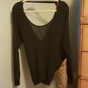 Loose knit cotton open back sweater